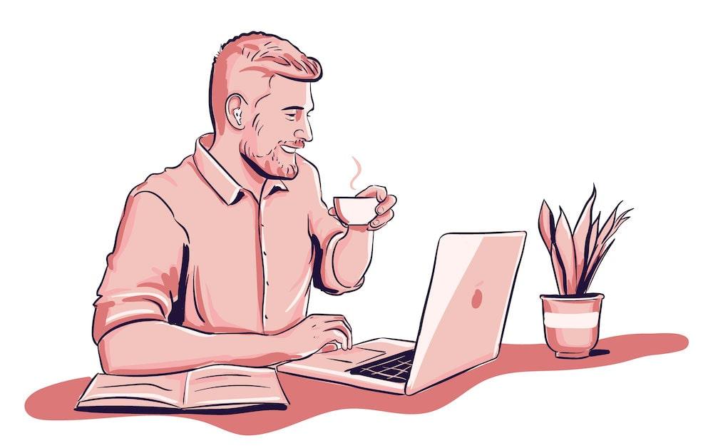 kille med dator (hemmakontor)