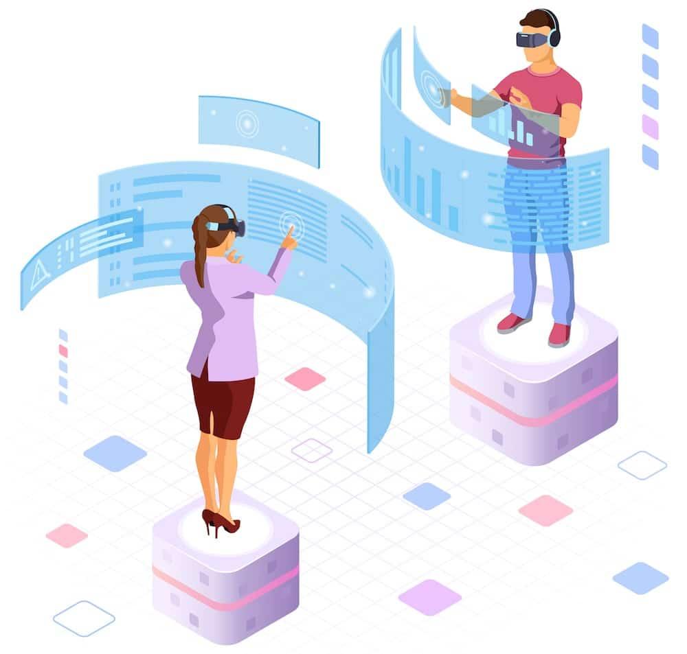 Kille och tjej med VR-glasögon framtidsyrken